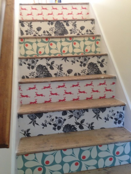 Wallpaper Staircase Makeover