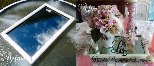 Before and After Vintage Mirror Serving Tray