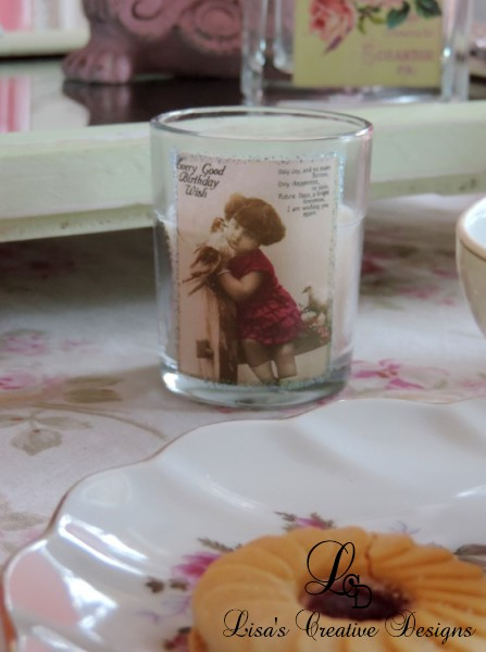 Vintage Inspired Birthday Party Votive Candle