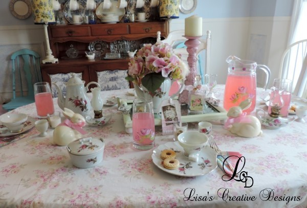 Pink Rose Shabby Chic Tea Party Tablescape