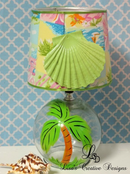 Lime Green Hand Painted Palm Tree Table lamp