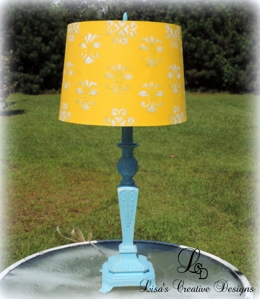 Painted Aqua Blue Cast Iron Pineapple Lamp With Painted Yellow Shade