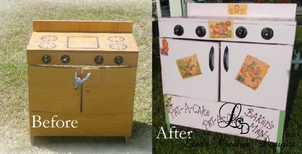 Before and After: A Shabby To Chic Toy Stove Makeover