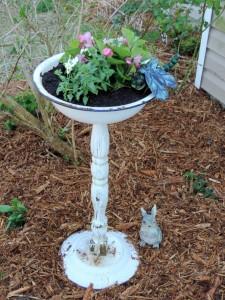 Upcycled Bird Bath Planter