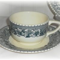 American Frontier Pilgrim Blue Transferware Cup and Saucer