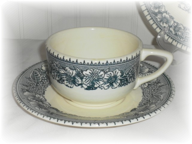 Blue and White American Frontier Transferware Cup and Saucer