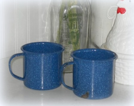 Blue Speckled Enamel Coffee Cups Country Kitchen Decor
