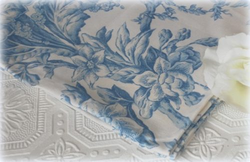 Blue and White Floral Toile Fabric Napkins – Country French Decor