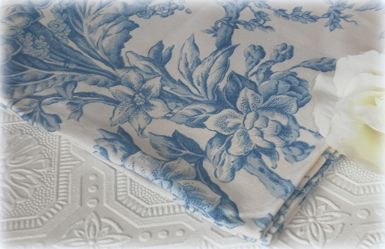 Blue Toile Fabric Napkins