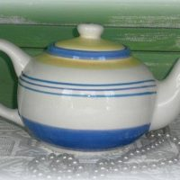 French Iris Hand Painted Ceramic Tea Pot By Block Basics