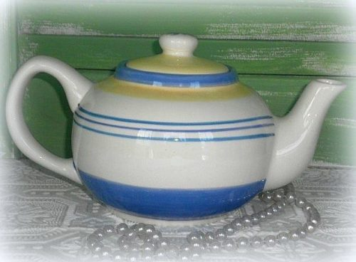 Blue and White Ceramic Tea Pot