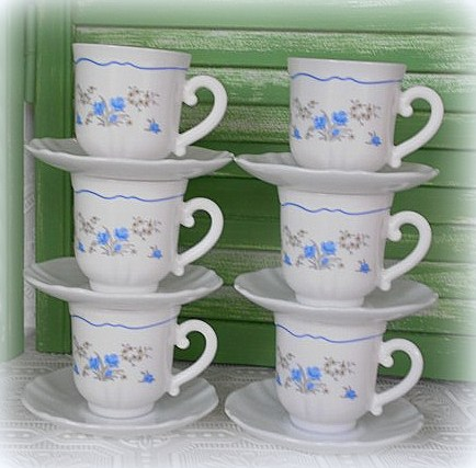 Blue Floral Coffee Tea Cups