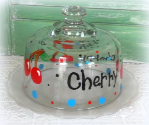 Hand Painted Cherry Cheeseball Dish