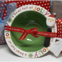 Ceramic Santa Claus Dip Bowl and Spreader By Hallmark