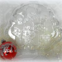 Clear Glass Christmas Carolers Candy Dish