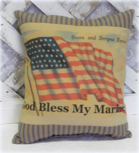 Handmade God Bless My Marine Printed Accent Pillow