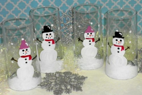 Hand Painted Country Snowman Christmas Glasses