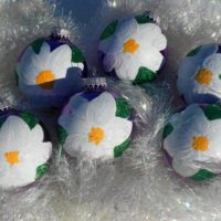 Hand Painted Purple and White Poinsettia Christmas Tree Ornaments