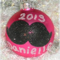 Personalized Hand Painted Mustache Ornament