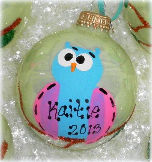 Personalized Hand Painted Owl Christmas Ornament