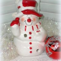 Red and Whire Snowman Tealight Candle Holder