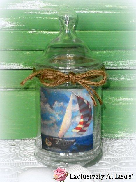 Sailboat Decorative Ginger Jar Beach Bathroom Decor