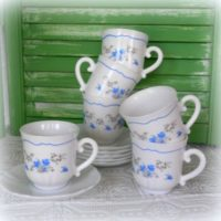 Blue Floral Acropal France Coffee Tea Cups and Saucers