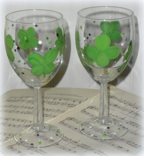 St. Patrick's Day Shamrock Wine Glasses