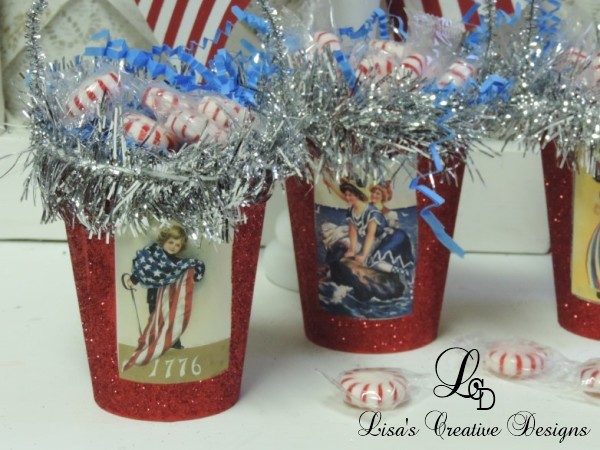 Patriotic Fourth of July Vintage Treat Cups