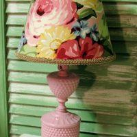 Upcycled Vintage Pink Milk Glass Hobnail Lamp