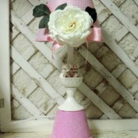 Upcycled Shabby Pink Rose Lamp