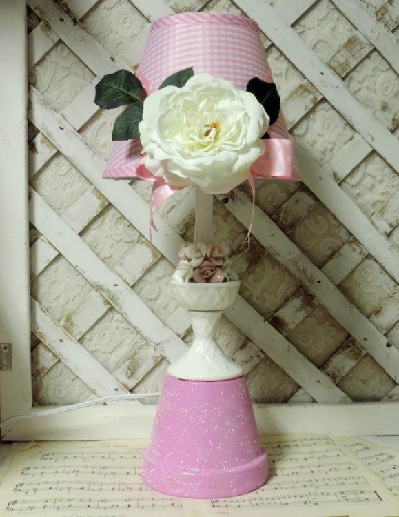 Upcycled Shabby Pink Rose Lamp