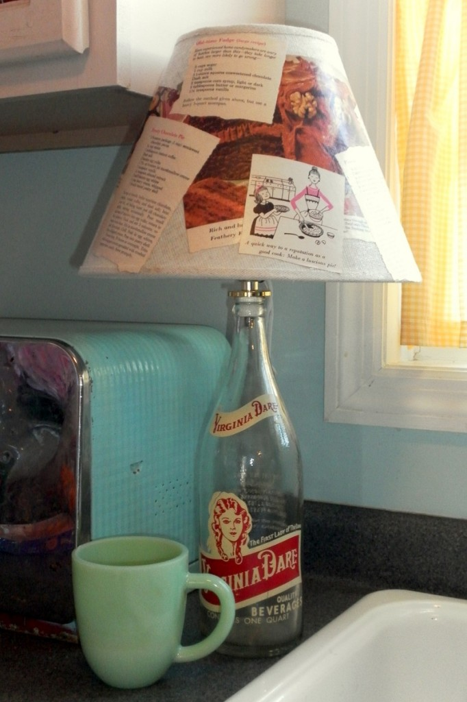 Upcycled Bottle Lamp With Cook Book Page Lampshade