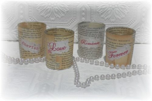 Upcycled Vintage Book Page Candle Holders