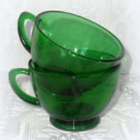 Vintage Emerald Green Glass Punch Cups