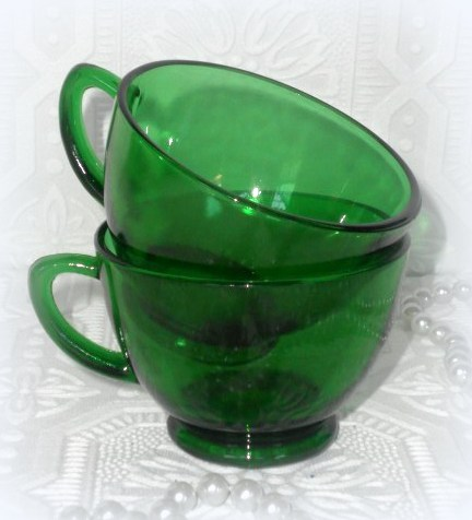 Vintage Green Glass Punch Cups