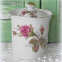 Vintage Japan Moss Rose China Sugar Bowl