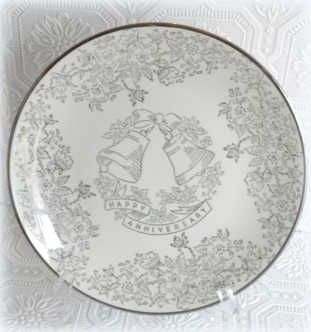 Vintage Silver & Gold Anniversary China Collectible Plate
