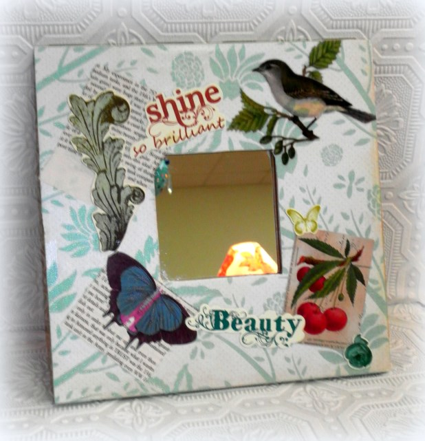 Shabby Chic Decorative Mirror Decoupaged Altered Art Decor