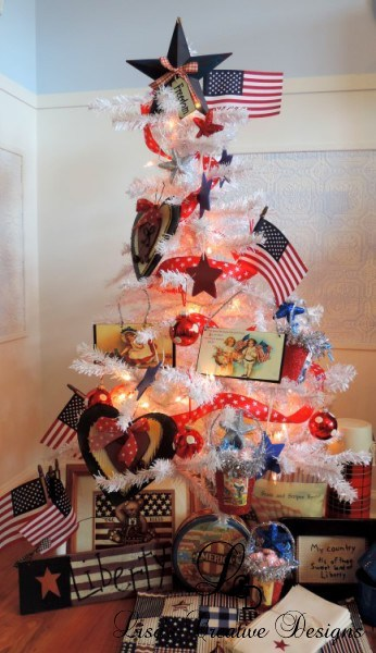 Patriotic Christmas Tree For Decorating For Fourth of July