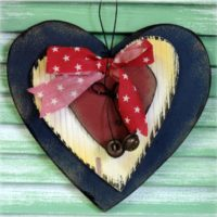 Americana Country Wooden Heart Plaque