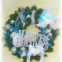 Beach Chic Turquoise Christmas Wreath
