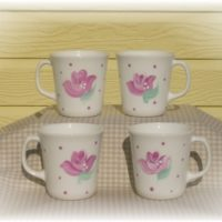 Hand Painted Pink Shabby Rose Coffee Cups