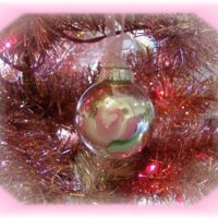 Handpainted Cottage Rose Christmas Ornament
