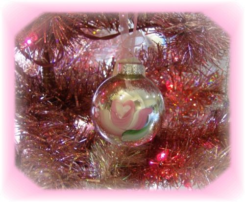 Shabby Cottage Rose Christmas Tree Ornament