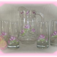 Hand Painted Shabby Rose Glass and Pitcher Set