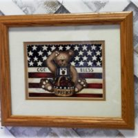 country chic Teddy Bear patriotic framed print