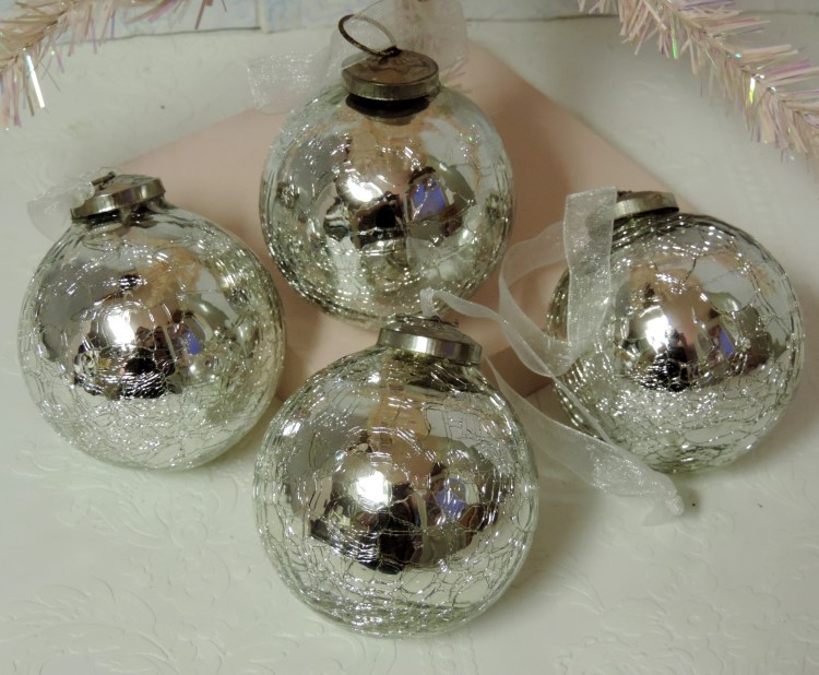 antiqued silver mercury glass christmas tree ornaments - Mercury Glass Christmas Trees