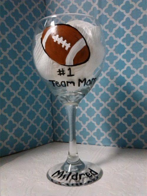 Personalized Football Team Mom Wine Glass