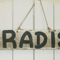 Hand Painted Paradise Sign Shabby Beach Decor